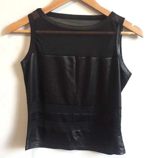 Leather and Mesh Top