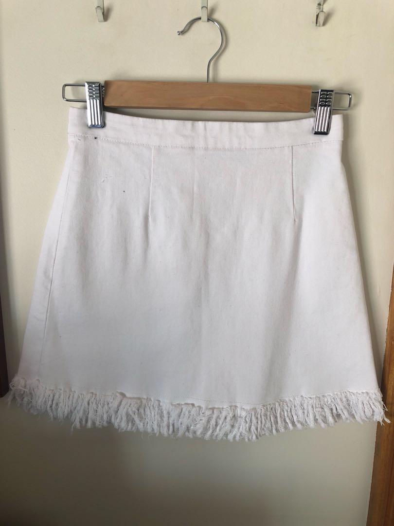 Maxim White Denim Skirt