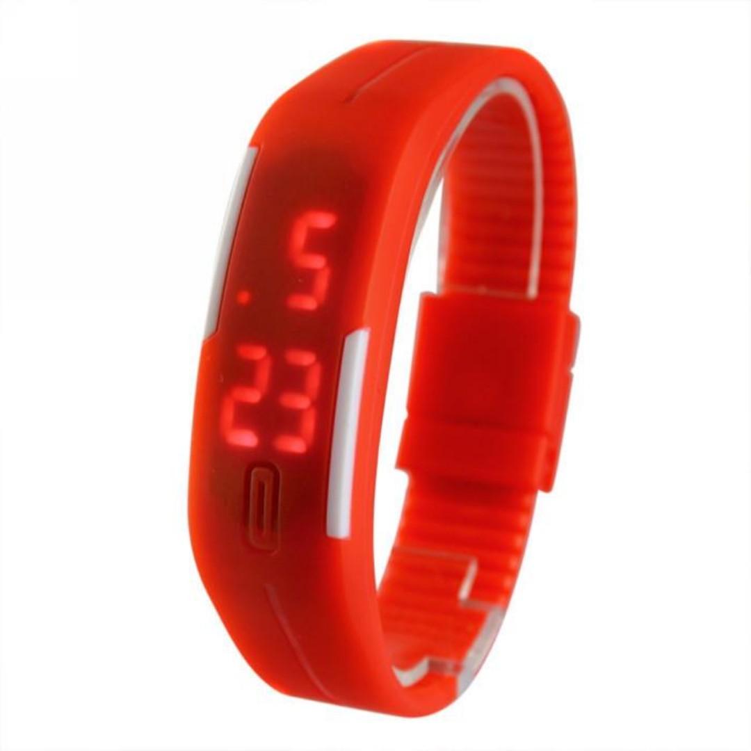 Men Women Rubber LED Watch Date Bracelet Digital Sport Wristwatch Red
