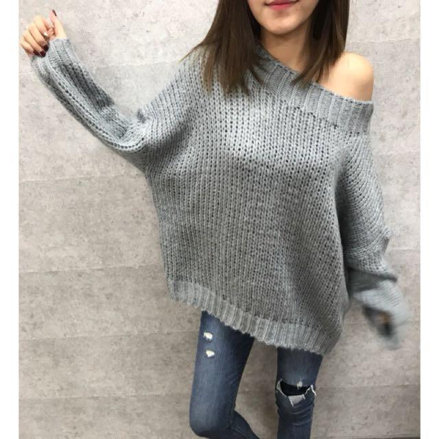 轉售+MMC+ 正韓一字領針織毛衣