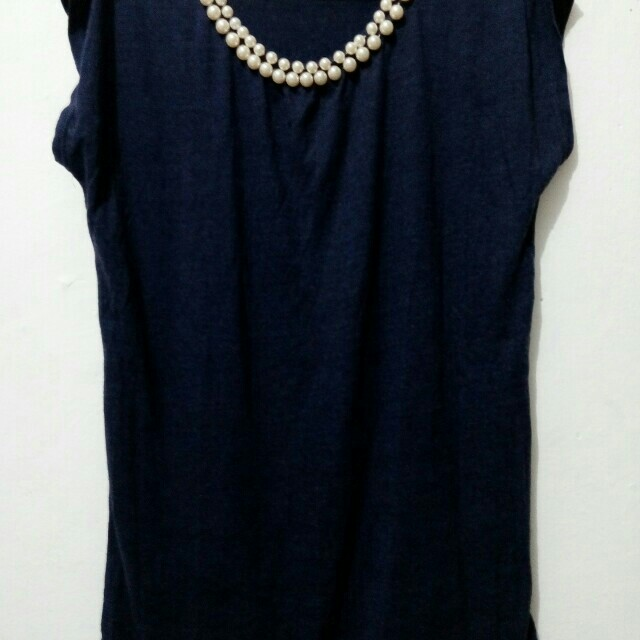 Navy Pearl Top Shirt