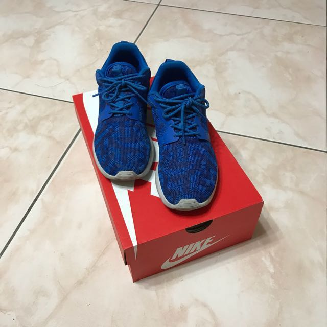 Nike Roshe run 虎紋/寶藍/女鞋