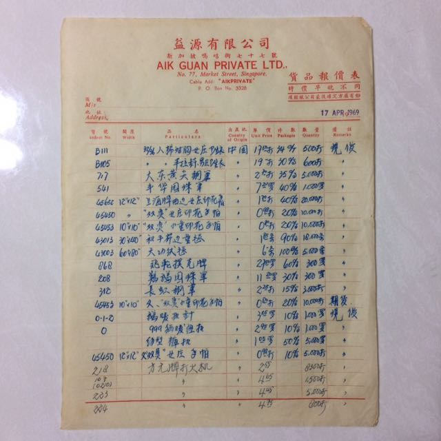 Old Vintage Document Old Singapore Invoice In Chinese Dated Th - Invoice in chinese