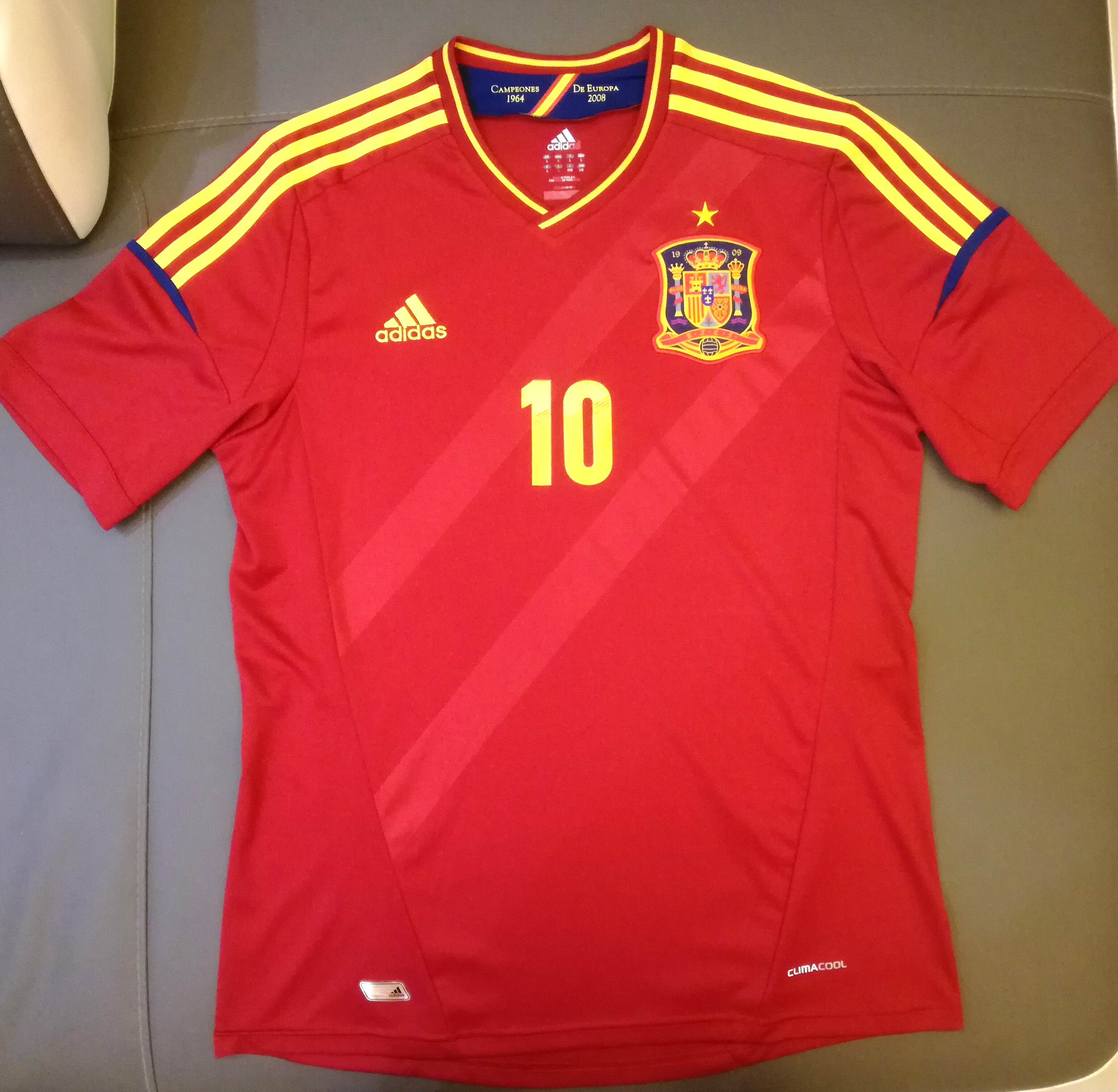 bcebbb174f8 Original Adidas Spain Home Jersey 11 13 with No.10 Fabregas