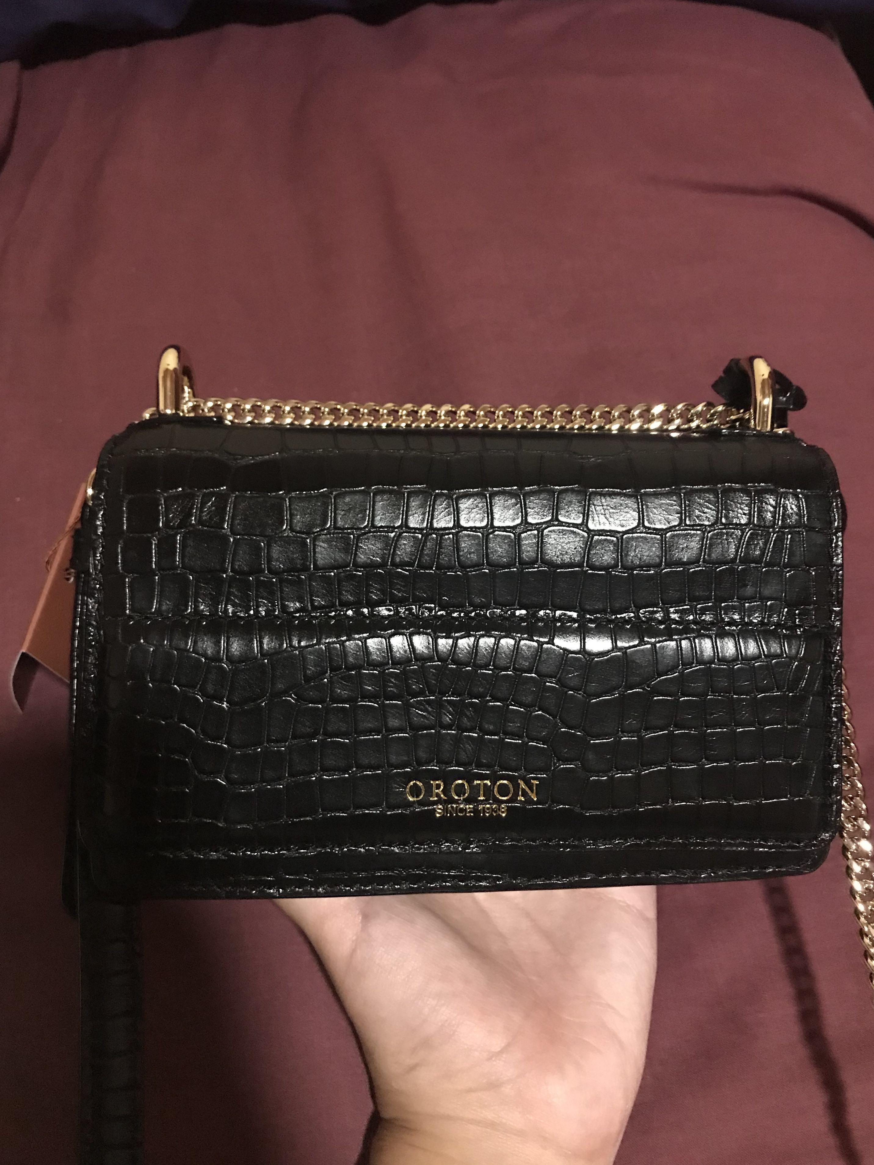Oroton black croc leather crossbody bag