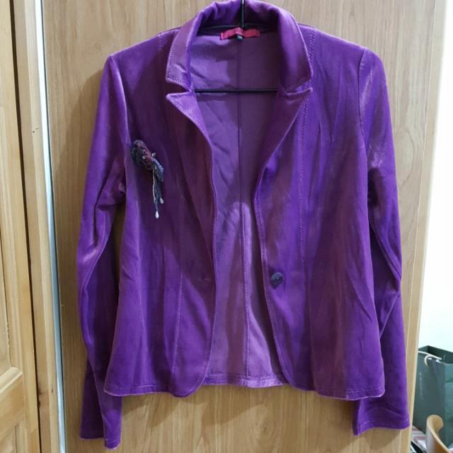 💖近全新OZOC羅蘭紫絲絨外套