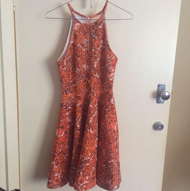 Paint it red orange flower dress size XS