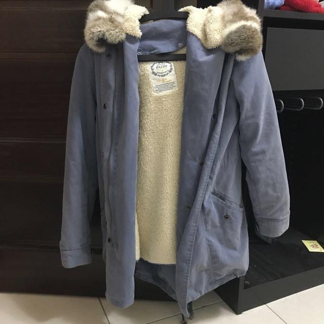 Pazzo狸毛真毛帽內裏可拆式軍外套 大衣