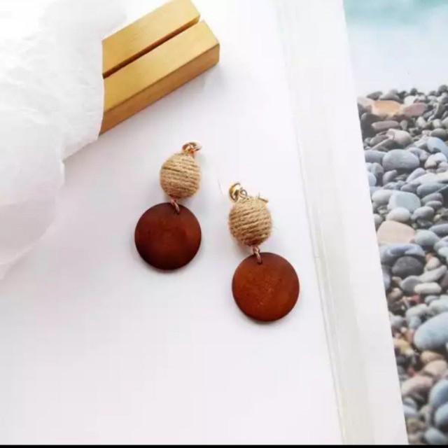 棉麻木頭編織耳環