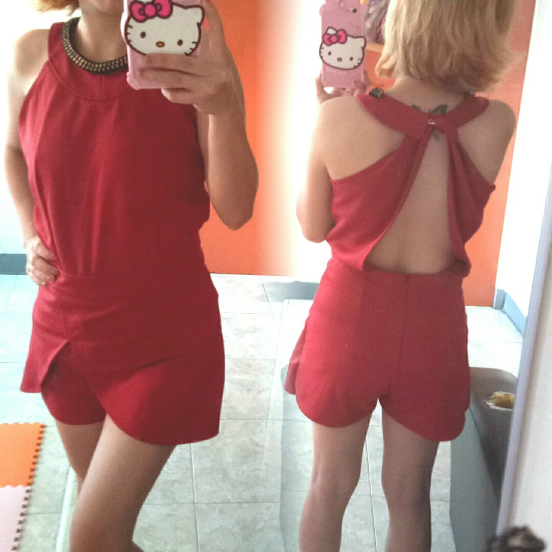Red sexy jumpsuit