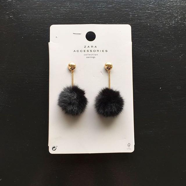 RESERVED Zara furball earrings