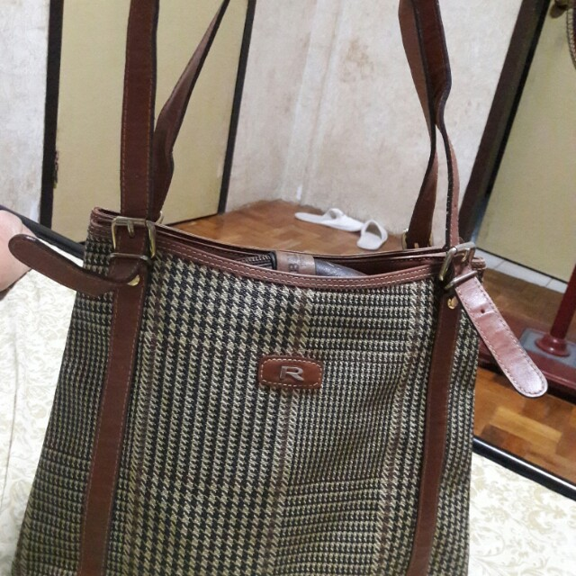 ROBERTO ITALY Genuine Leather PVC Plaid Tote Bag
