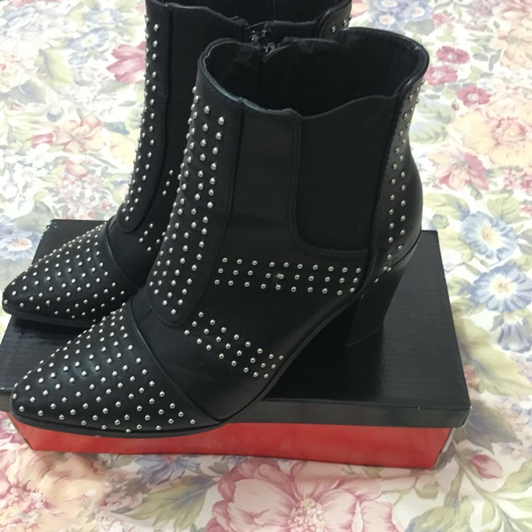 SILVER STUDDED BOOTS