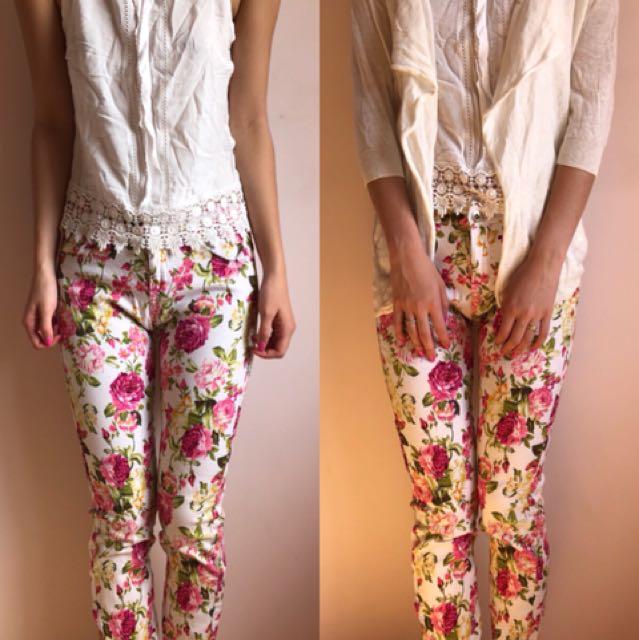 Size 6   Floral Jeans