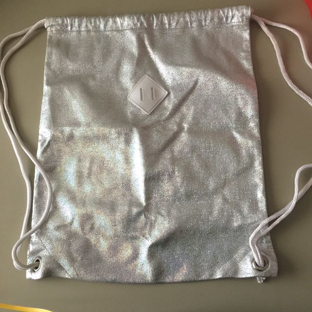 Sparkly silver drawstring bag