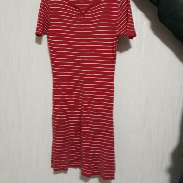 Stripe red midi dress esprit