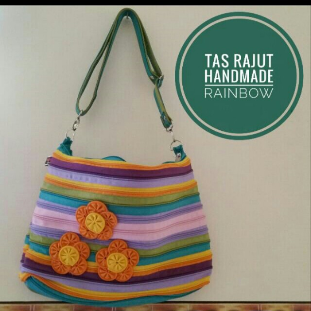 Tas Resleting Homemade Rainbow