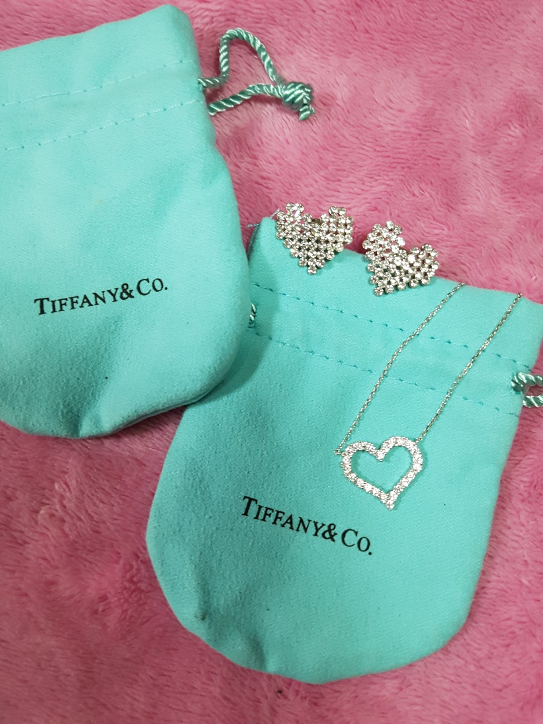 Tiffany & Co. Open Heart Necklace and Pave Heart Earring Set