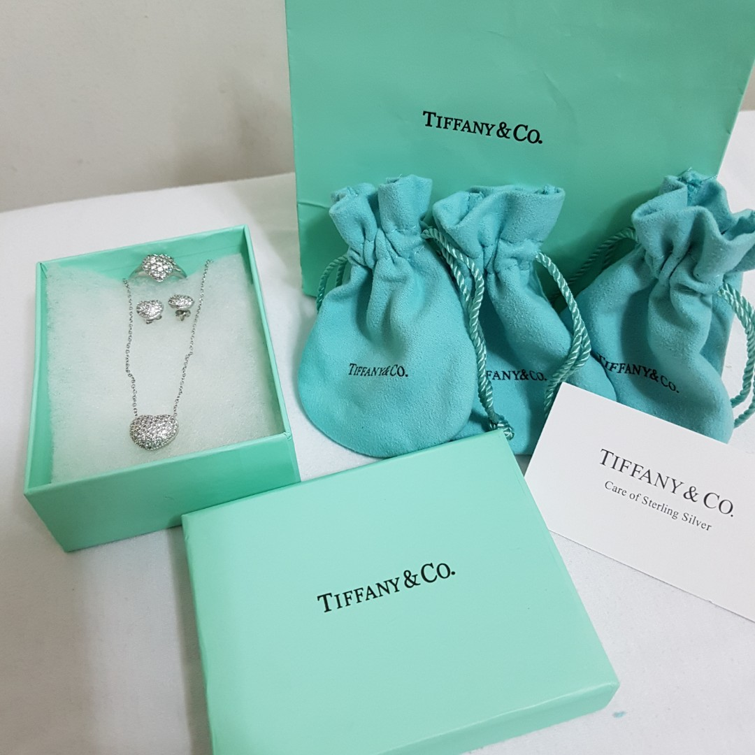 Tiffany & Co. Pave Heart Necklace-Earring-Ring Set