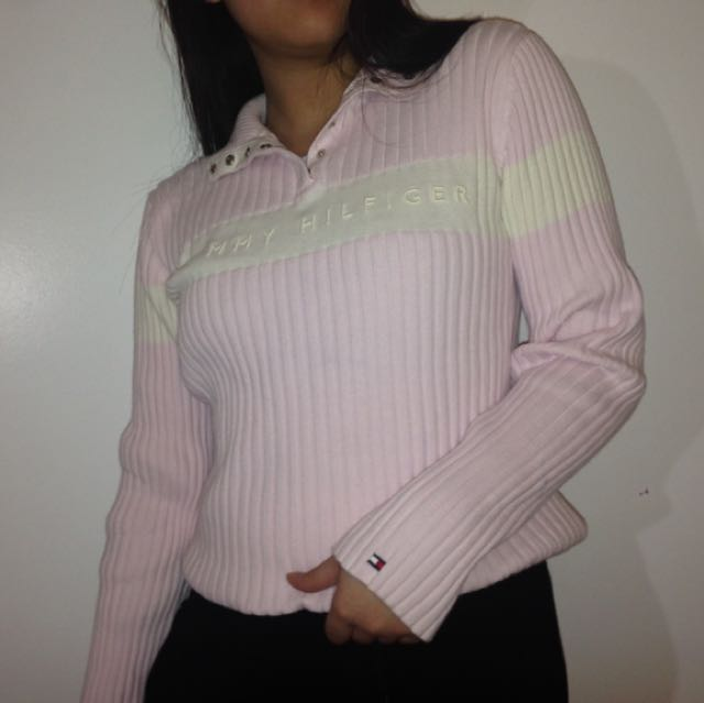 Tommy Hilfiger baby pink rubbed long sleeve