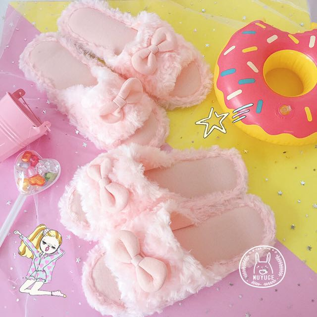 Ulzzang Pink Ribbon Slipper (PO)
