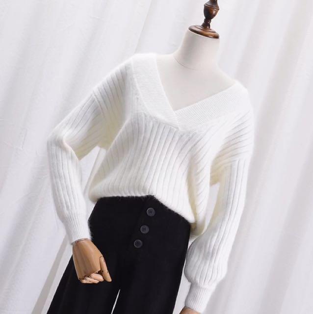 實穿照📷V領針織毛衣