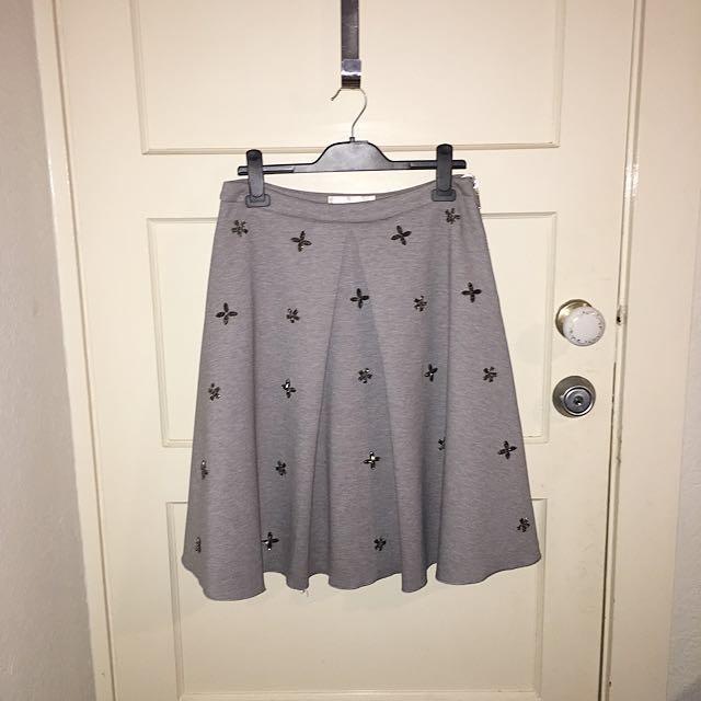 Vintage Jersey Skirt w/ Beaded Details