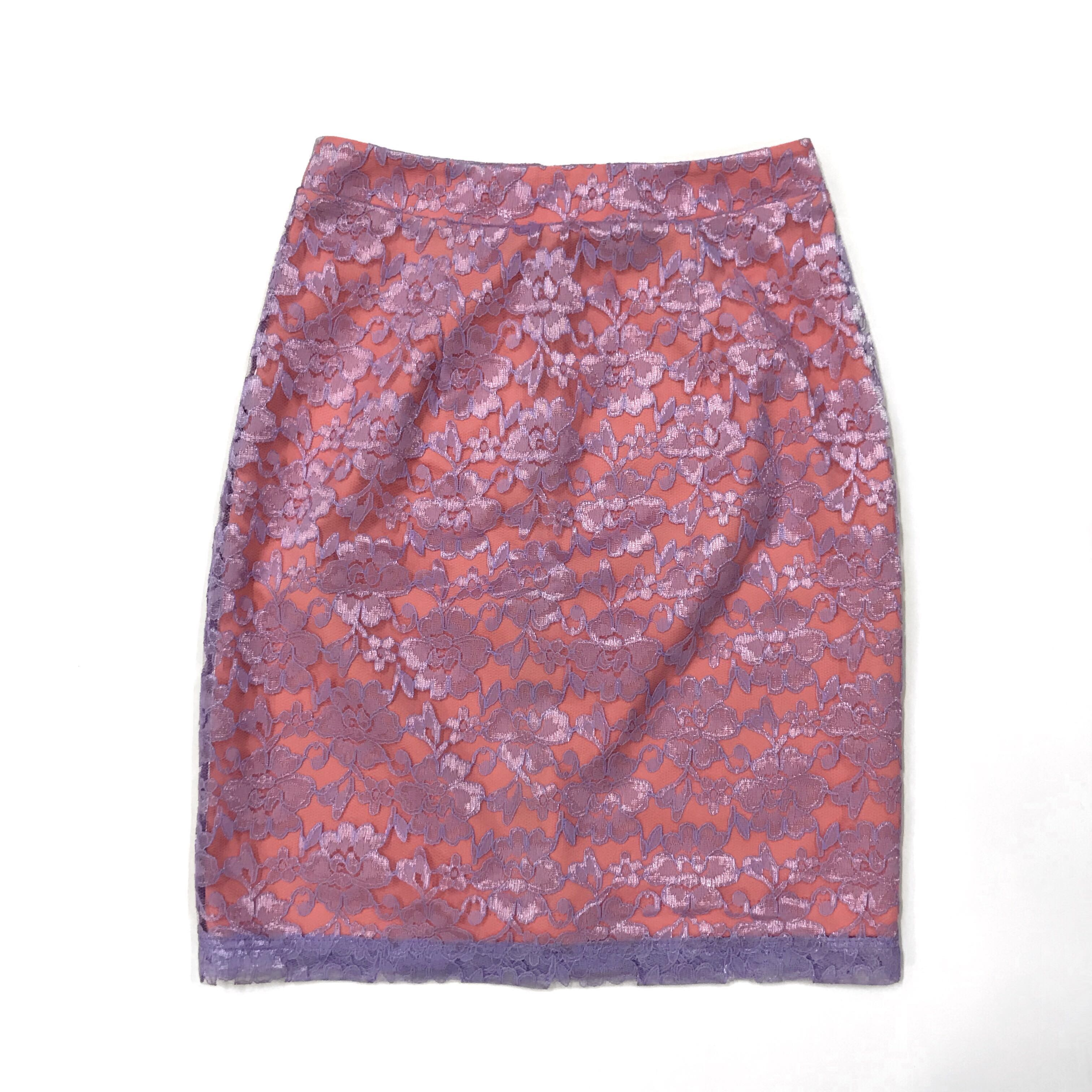 Warehouse Pink and Purple Lace Skirt