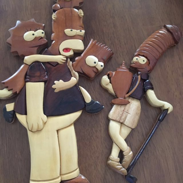 Wooden Simpsons characters Golf Scene