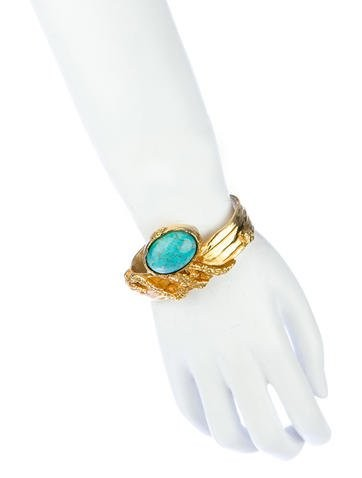 YSL Arty Cuff Bangle in Turquoise