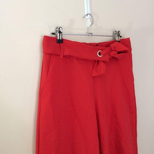 ZARA -red wide leg pants
