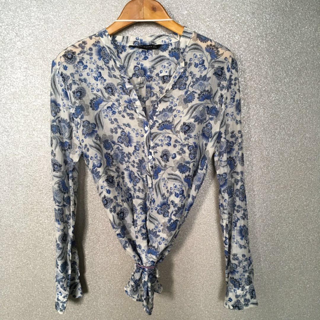 1a178aaa55 Zara Woman Long Sleeve Blue Flora Motif V-neck Blouse with White ...
