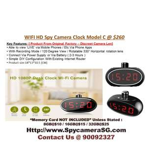Spy Camera Clock With Rotating Len wifi ip