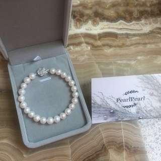 [天然珍珠]Pearl Pearl 珍珠手鏈配玫瑰花純銀扣 優惠價$338