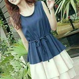 Blue Korean Drawstring Dress