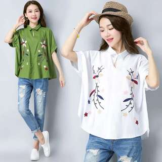 Loose fitting 2018 spring and summer new large size women's retro embroidery flower cotton shirt national wind loose short-sleeved shirt female