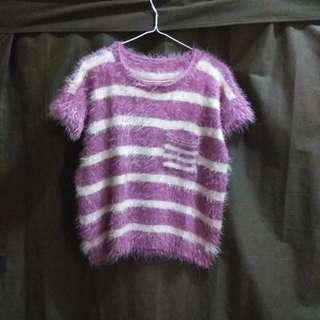 日系紫紅間條毛衣
