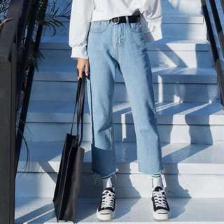 (S~5XL) Spring and Autumn nine wide leg jeans high waist loose straight jeans