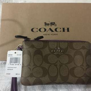 Coach F87591 Signature Double Corner Zip Wristlet