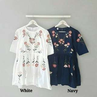 CS7026 blus Herlina Bordir,Matt Katun Bordir asli, LD-95 PJ-75 fit to L, berat 0.30kg