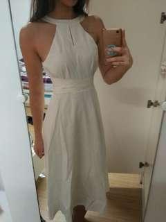 Halter White Long Dress