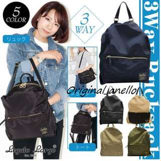 MOVING OUT SALES !   Model :  LH-K1041 . Authentic Legato Largo 3Way Nylon Backpack