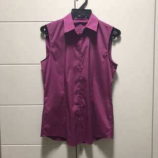 Purple collared button-down sleeveless top #Easter20