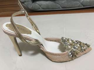 BN Embellished lace wedding heels