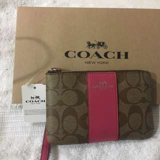 Coach F58035 Corner Zip Wristlet with Signature Coated Canvas