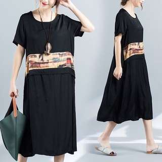 (M~XL) 2018 summer ladies short-sleeved long section loose dress