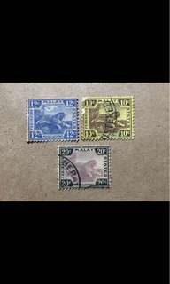 Malaya stamps used Tigers 3v (small faults)