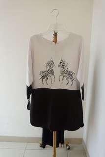 White black oversize top