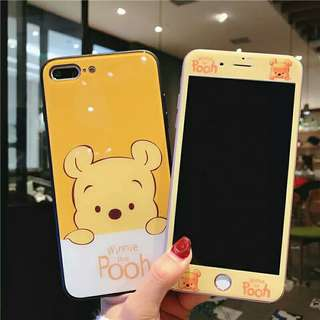 ⚠ Pre-order! Cute Disney Pooh Bear theme design Hard Phone Case with front protector For IPhone 6, 6S, 6 plus, 6S Plus, 7, 7 Plus, 8 & 8 Plus and X! (Enquire for availability!)