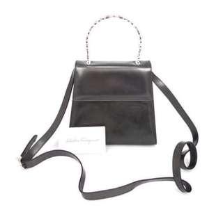 中古Ferragamo two way Bag 兩用款 vintage 非 YSL Gucci Celine Hermes Valentino Loewe style